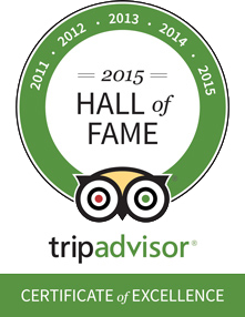 Hall of Fame - Tripadvisor Certificate of Excellence 2015