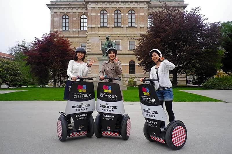 Zagreb tour - Zagreb all around tour - three girls on a segway in Zagreb Downtown